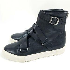 Gia Moto High Top Black Leather Sneaker